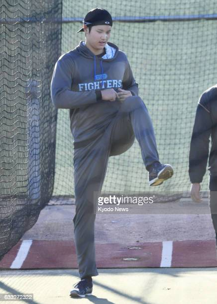 Nippon Ham Fighters pitcherdesignated hitter Shohei Otani warms up in Peoria Arizona on Jan 31 2017 Otani said the same day he will not pitch for...