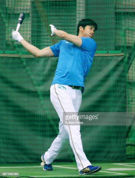Nippon Ham Fighters slugging ace pitcher Shohei Otani practices hitting at the club's farm team facility in Kamagaya Chiba Prefecture on May 24 2017...