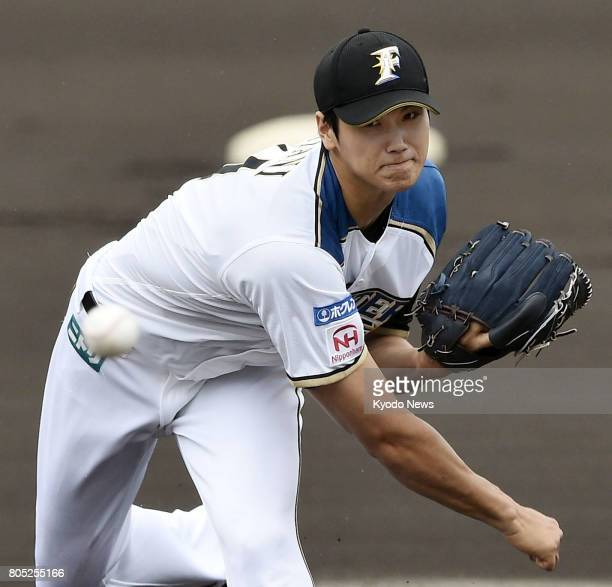 Nippon Ham Fighters starting pitcher Shohei Otani throws in a minor league game against the Seibu Lions outside Tokyo in Chiba Prefecture on July 1...