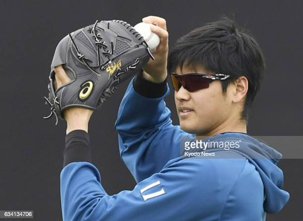 Nippon Ham Fighters twoway player Shohei Otani works at the team's training camp in Peoria Arizona on Feb 6 2017 Otani who has withdrawn from March's...