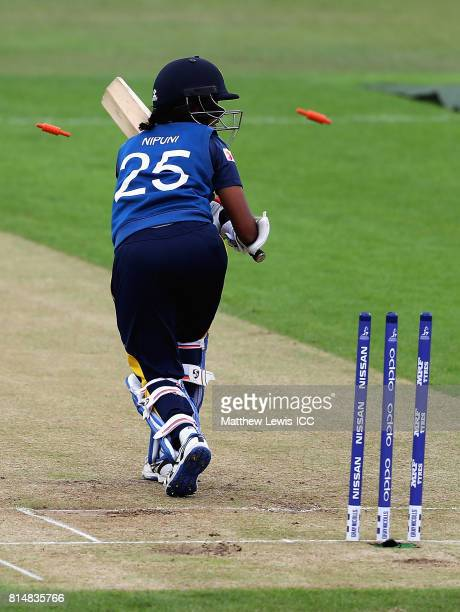 Nipuni Hansika of Sri Lanka is bowled by Diana Baig of Pakistan during the ICC Women's World Cup 2017 match between Pakistan and Sri Lanka at Grace...