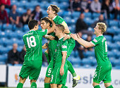 Nir Bitton of Celtic celebrates his team's second goal with team mates during the Scottish premiership match between Kilmarnock and Celtic at Rugby...