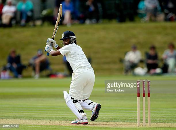 Niranjana Nagarajan of India in action during day two of Women's test match between England and India at Wormsley Cricket Ground on August 14 2014 in...