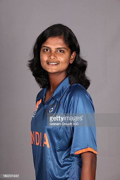 Niranjana Nagarajan of India poses at a portrait session ahead of the ICC Womens World Cup 2013 at the Taj Mahal Palace Hotel on January 27 2013 in...