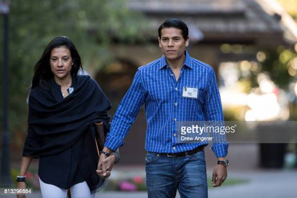 Nirav Tolia chief executive officer of Nextdoor and wife Megha Tolia attend the second day of the annual Allen Company Sun Valley Conference July 12...