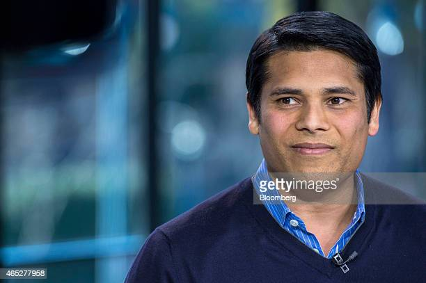 Nirav Tolia chief executive officer of Nextdoorcom Inc pauses during a Bloomberg West television interview in San Francisco California US on...