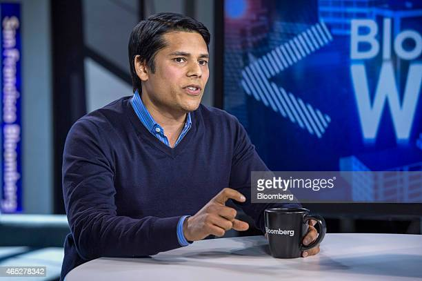 Nirav Tolia chief executive officer of Nextdoorcom Inc speaks during a Bloomberg West television interview in San Francisco California US on...
