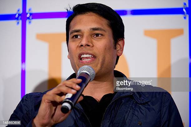 Nirav Tolia cofounder and chief executive officer of Nestdoorcom speaks during the Glimpse Social Discovery conference in San Francisco California US...