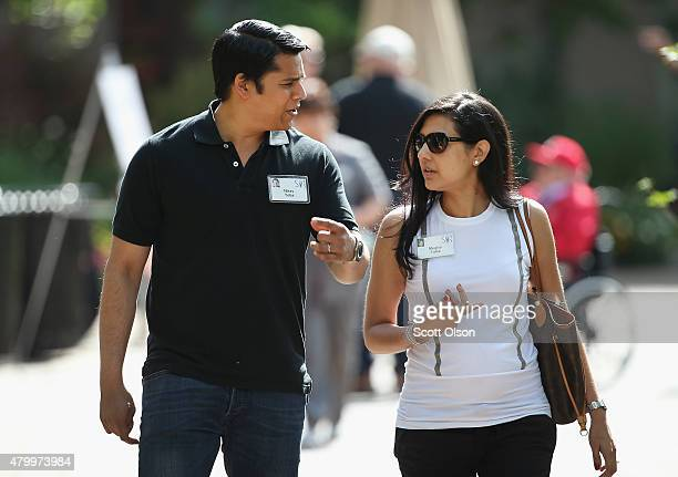Nirav Tolia cofounder and chief executive officer of Nextdoor chats with Megha Tolia at the Allen Company Sun Valley Conference on July 8 2015 in Sun...