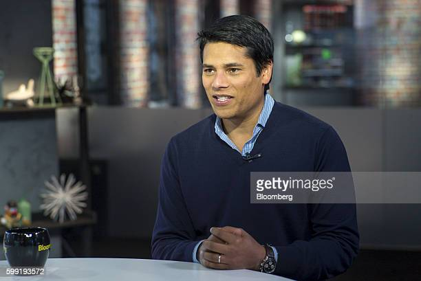Nirav Tolia cofounder and chief executive officer of Nextdoorcom Inc speaks during a Bloomberg West television interview in San Francisco California...