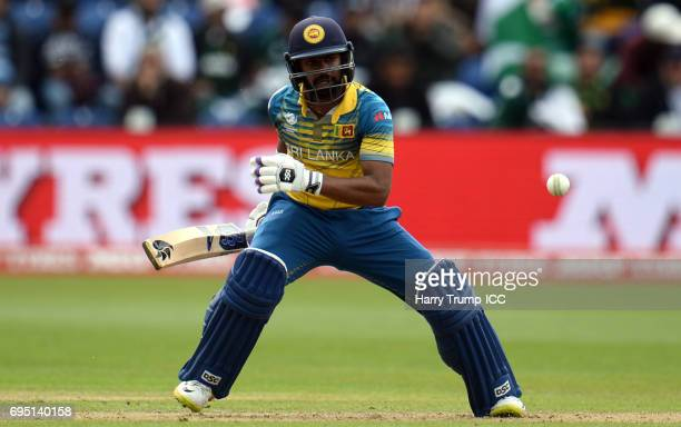 Niroshan Dickwella of Sri Lanka bats during the ICC Champions Trophy match between Sri Lanka and Pakistan at SWALEC Stadium on June 12 2017 in...
