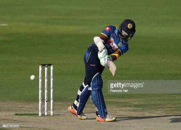 Niroshan Dickwella of Sri Lanka bats during the third One Day International match between Pakistan and Sri Lanka at Zayed Cricket Stadium on October...
