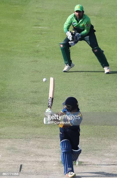 Niroshan Dickwella of Sri Lanka bats during the third one day international match between Pakistan and Sri Lanka in Abu Dhabi at Zayed Cricket...
