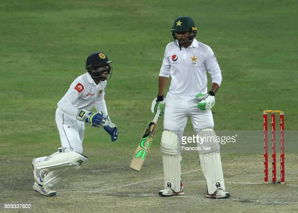 Niroshan Dickwella of Sri Lanka celebrates after dismissing Haris Sohail of Pakistan during Day Four of the Second Test between Pakistan and Sri...
