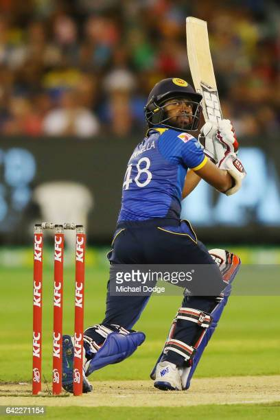 Niroshan Dickwella of Sri Lanka flicks the ball for six off the bowling of Billy Stanlake of Australia during the first International Twenty20 match...
