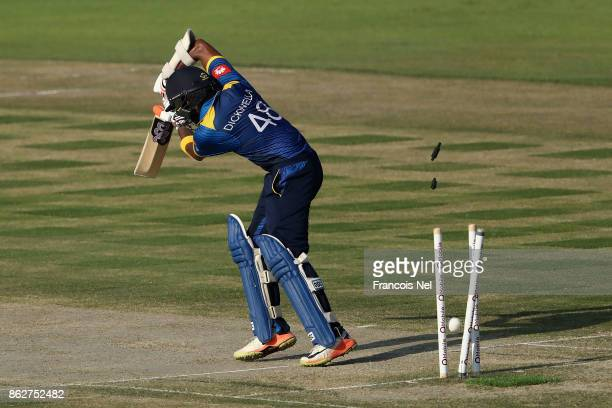 Niroshan Dickwella of Sri Lanka is bowled by Hassan Ali of Pakistan during the third One Day International match between Pakistan and Sri Lanka at...