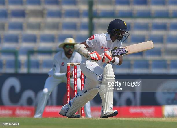Niroshan Dickwella of Sri Lanks bats during Day Two of the First Test between Pakistan and Sri Lanka at Sheikh Zayed Stadium on September 29 2017 in...