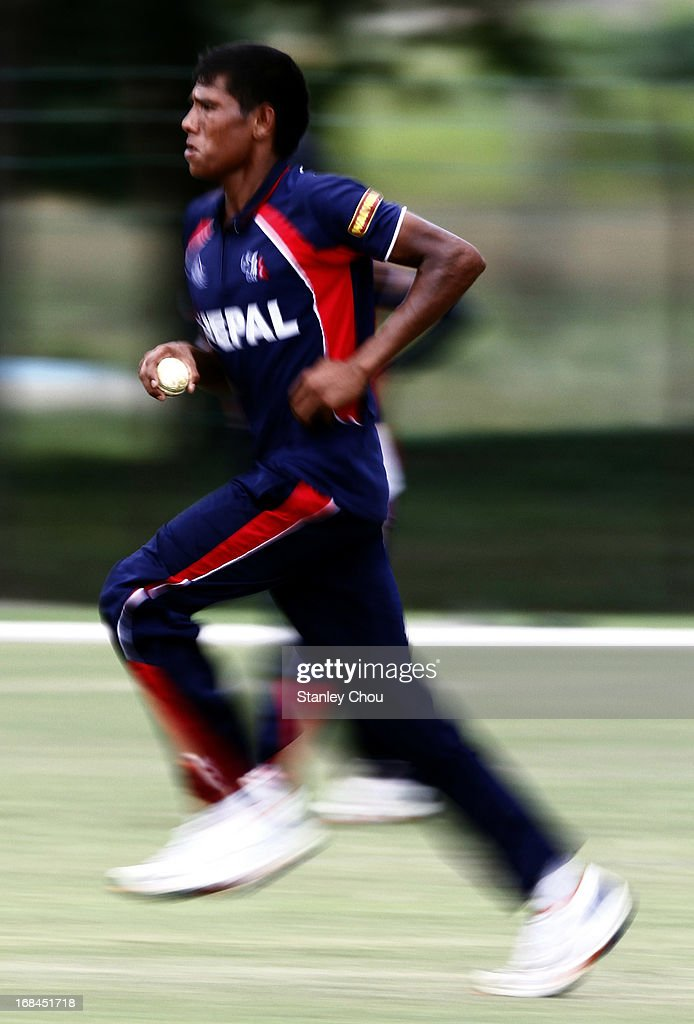 Nischal Pandey of Nepal in action during the ACC U-19 Elite Cup Semi Final against UAE at the Bayuemas Cricket Ground on May 10, 2013 in Kuala Lumpur, Malaysia.