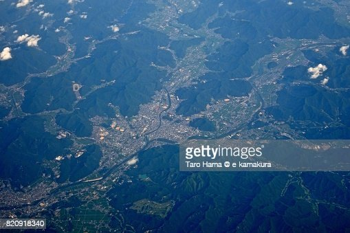 Nishiwaki city in Hyogo prefecture day time aerial view from airplane : ストックフォト