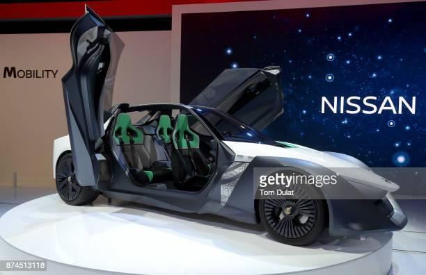 Nissan BladeGlider is seen during Dubai Motor Show at Dubai World Trade Centre on November 15 2017 in Dubai United Arab Emirates