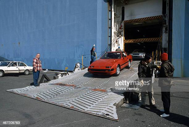 Nissan cars arriving at Port Newark are photographed April 10 1985 in Newark New Jersey Port Newark is the world's busiest container port lifted by...