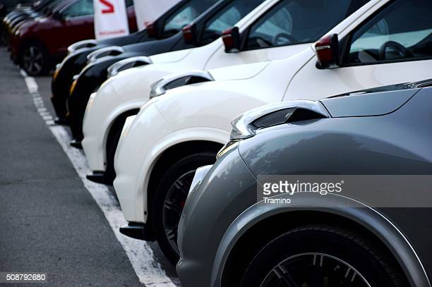 Nissan cars in a row
