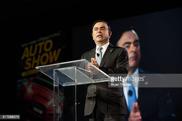 Nissan CEO Carlos Ghosn speaks during the beginning of the New York International Auto Show's press day at the Javits Center on March 23 2016 in New...