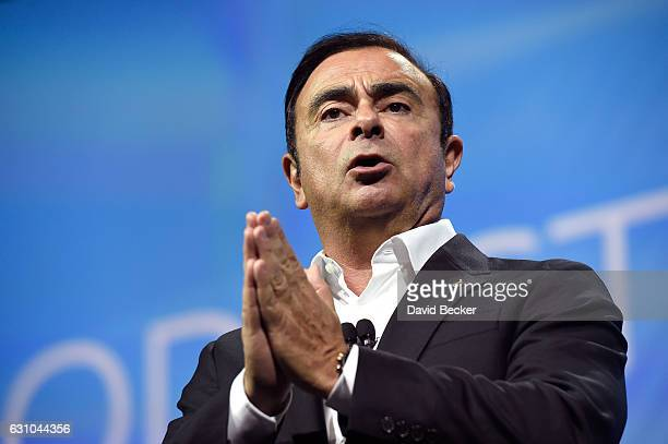 Nissan Chairman and CEO Carlos Ghosn delivers a keynote address at CES 2017 at the Westgate Las Vegas Resort Casino on January 5 2017 in Las Vegas...