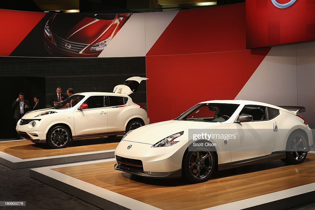 Nissan displays their 2013 Juke NISMO (L) and the 2014 370Z NISMO edition at the Chicago Auto Show on February 7, 2013 in Chicago, Illinois. The Chicago Auto Show, one of the oldest and largest in the country, will be open to the public February 9-18.
