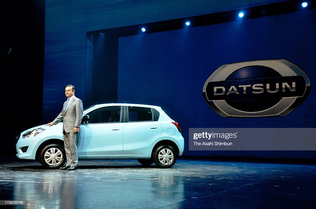 Nissan Motor Co CEO Carlos Ghosn introduces 'GO', under 'Datsun' brand on July 15, 2013 in Gurgaon, India. Nissan will launch the five-door hatchback vehicle, specially customized for Indian market where Nissan's market share is 1 percent in 2012, aims to grow its share up to 10 percent in 2016.