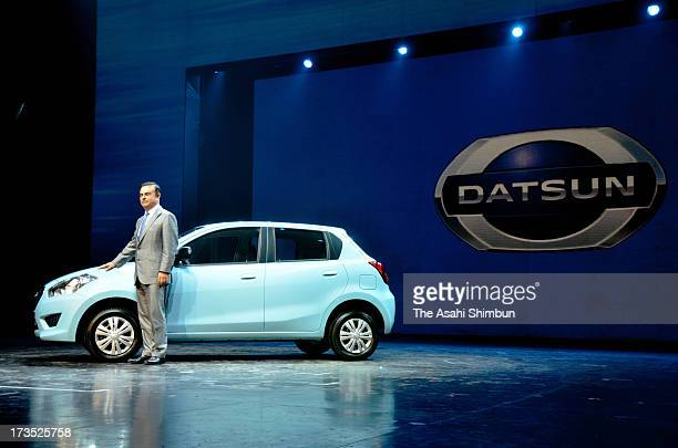 Nissan Motor Co CEO Carlos Ghosn introduces 'GO' under 'Datsun' brand on July 15 2013 in Gurgaon India Nissan will launch the fivedoor hatchback...