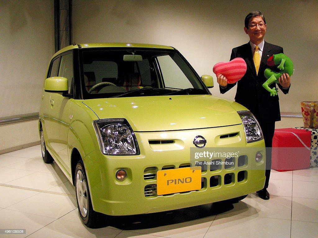 Nissan Motor Co COO Toshiyuki Shiga introduces the company's new 'Kei' class vehicle 'Pino' at the company headquarters on January 22 2007 in Tokyo...