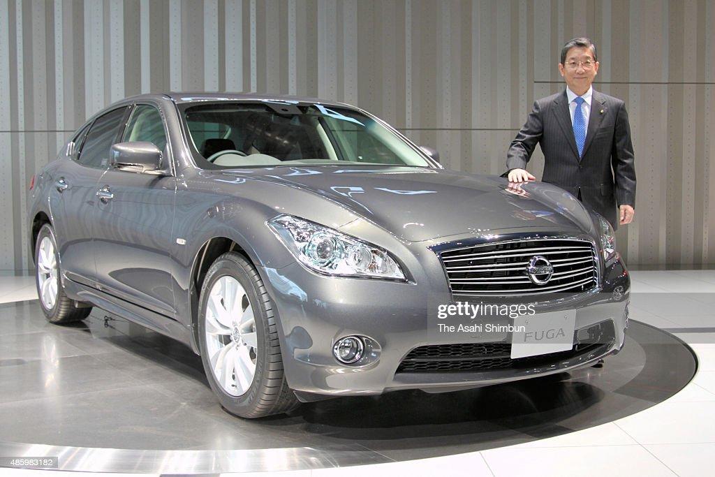 Nissan Motor Co COO Toshiyuki Shiga introduces the new 'Fuga' at the company headquarters on November 19 2009 in Yokohama Kanagawa Japan