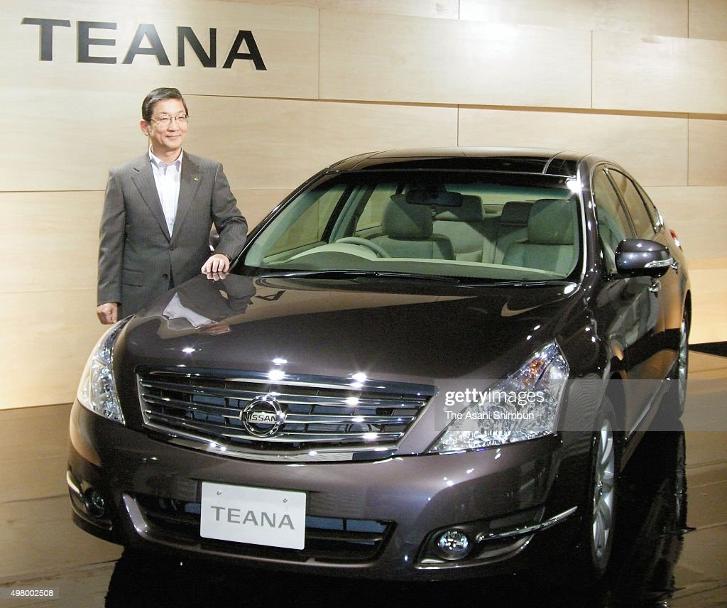 Nissan Motor Co COO Toshiyuki Shiga introduces the new 'Teana' during its unveiling on June 3 2007 in Tokyo Japan