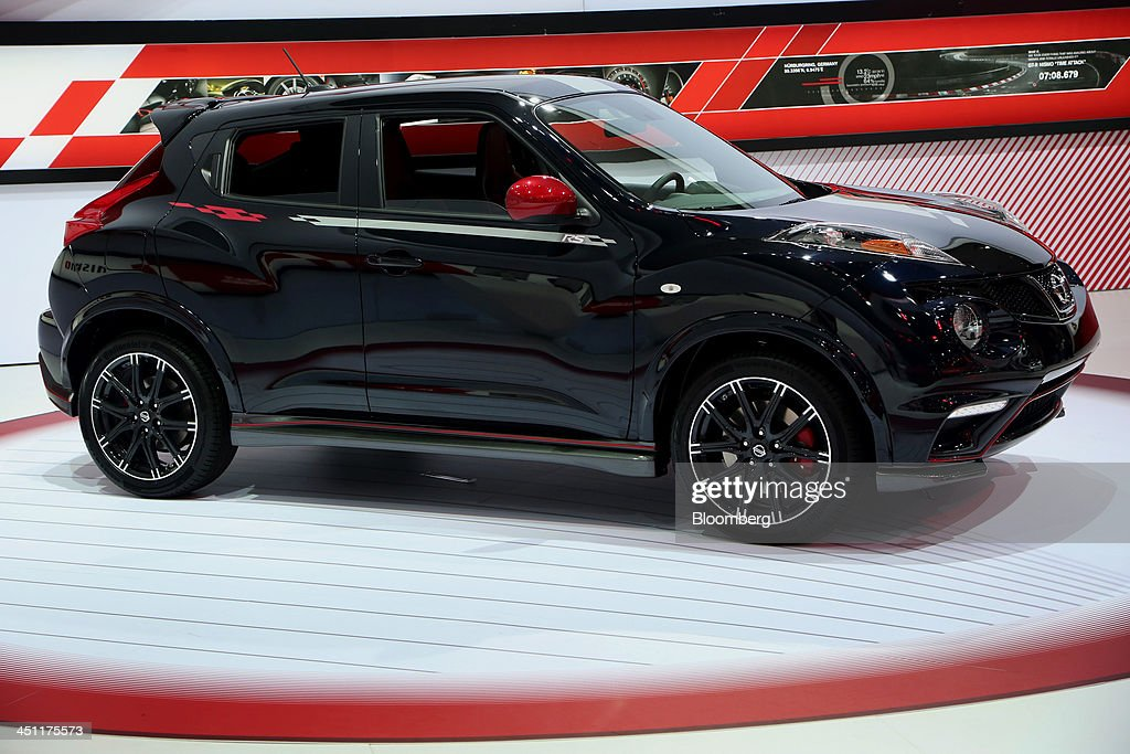 A Nissan Motor co. Juke Nismo RS vehicle is displayed during the LA Auto Show in Los Angeles, California, U.S., on Thursday, Nov. 21, 2013. The 2013 LA Auto Show is open to the public Nov. 22 - Dec. 1. Photographer: Jonathan Alcorn/Bloomberg via Getty Images