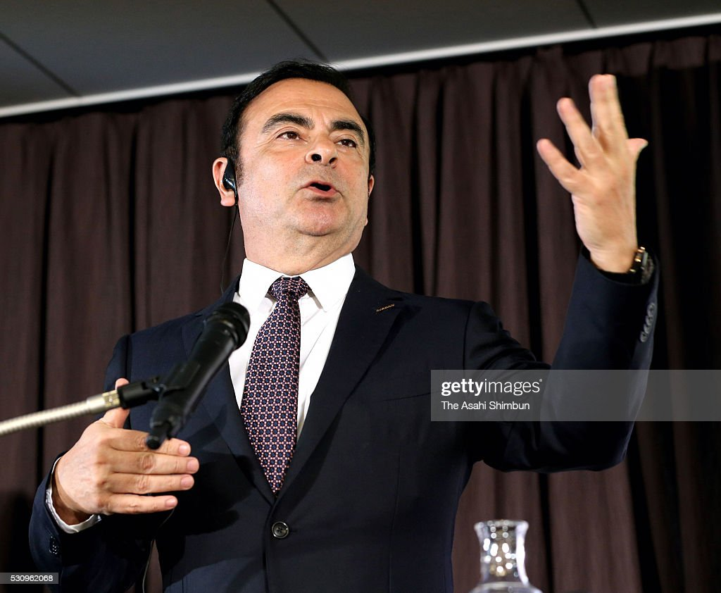 Nissan Motor Co President Carlos Ghosn speaks during a joint press conference at TKP Garden City Yokohama on May 12, 2016 in Yokohama, Kanagawa, Japan. Nissan will take 34 percent stake in troubled Mitsubishi Motors, for 237 billion Japanese yen (approximately 2.2 million U.S. dollars) and become the top shareholder in the automaker, which has been troubled by fuel economy scandal.