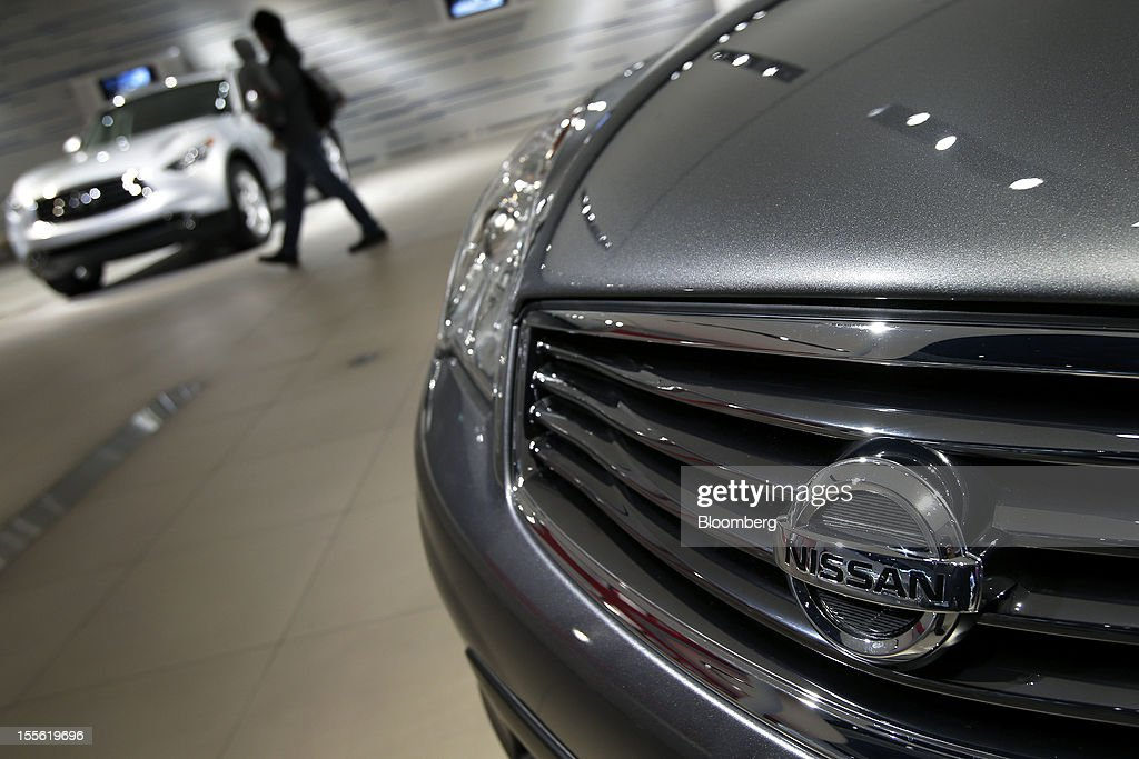 Nissan Motor Co. vehicles are displayed at the company's headquarters in Yokohama City, Kanagawa Prefecture, Japan, on Tuesday, Nov. 6, 2012. Nissan, the top Japanese seller of vehicles in China, cut its full-year net income forecast 20 percent after consumer backlash stemming from a territorial dispute sent sales lower in its largest market. Photographer: Kiyoshi Ota/Bloomberg via Getty Images