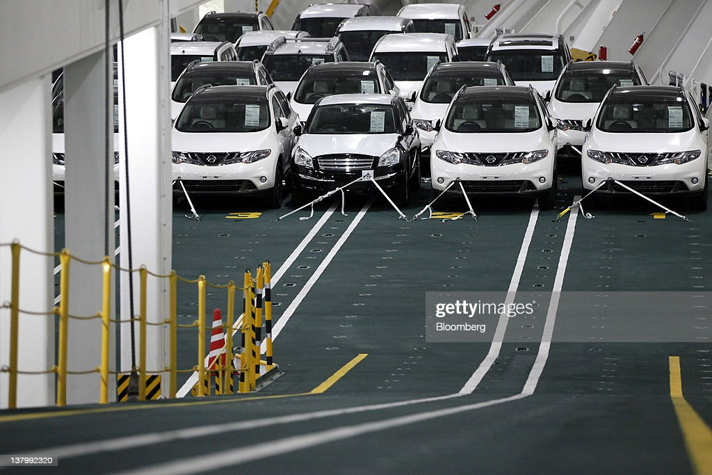 Nissan media event on eco car carrier ship at oppama wharf for Motor cargo freight company