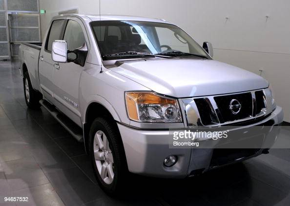 Nissan Motor Co's new Titan fullsize pickup truck is displayed at the company's Technical Center in Farmington Hills Michigan Thursday Feb 1 2007 The...