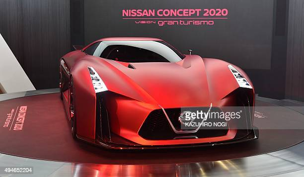 Nissan Motor displays the Nissan Concept 2020 Vision Gran Turismo during a press preview at the company's booth at the Tokyo Motor Show in Tokyo on...