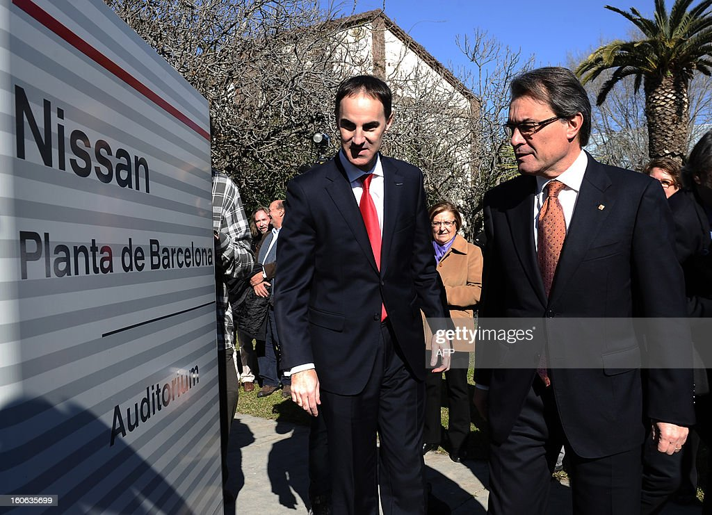 Nissan Motor Iberica's Chief Executive Officer (CEO) Frank Torres (L) and President of the Catalan regional government and leader of the Catalan party CIU (Convergence and Unity party) Artur Mas arrive at Nissan's factory in Barcelona on February 4, 2013. Nissan will make a new car model at its Barcelona factory, which will create 1,000 jobs and bring in around130 million euros (178 million USD) of new investment, Spanish media reported.