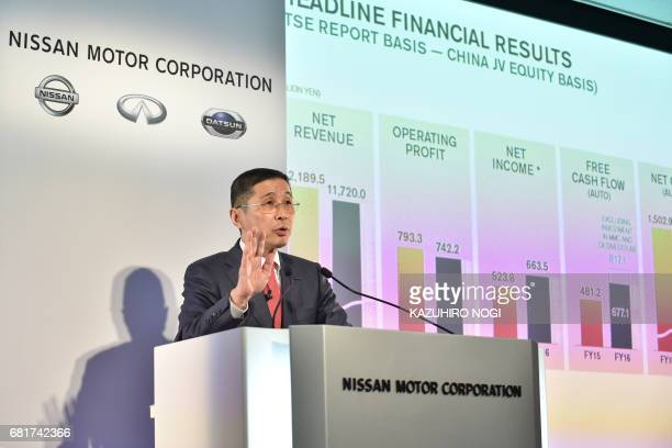 Nissan Motor President and CEO Hiroto Saikawa speaks during a press conference to announce the compnay's FY2016 fullyear financial results at Nissan...