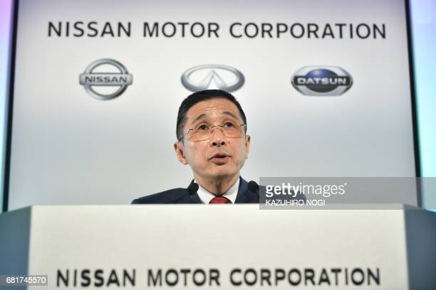 Nissan Motor President and CEO Hiroto Saikawa speaks during a press conference to announce the company's FY2016 fullyear financial results at Nissan...