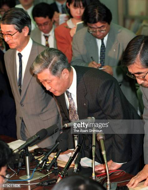 Nissan Mutual Life Insurance President Hiroshi Yonemoto attends a press conference as the company filed bankruptcy protection on April 25 1997 in...