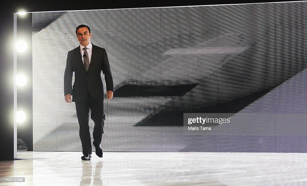 Nissan President and CEO Carlos Ghosn enters to introduce the new 2013 Nissan Altima at the New York International Auto Show at the Jacob Javits...