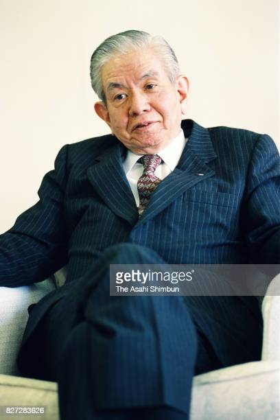 Nissho Iwai Chairman Masaru Hayami speaks during the Asahi Shimbun interview at the company headquarters on March 29 1993 in Tokyo Japan