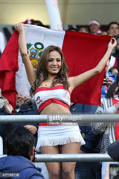 Nissu Cauti fan of Peru during the 2015 Copa America Chile Group C match between Brazil and Peru at Municipal Bicentenario Germán Becker Stadium on...