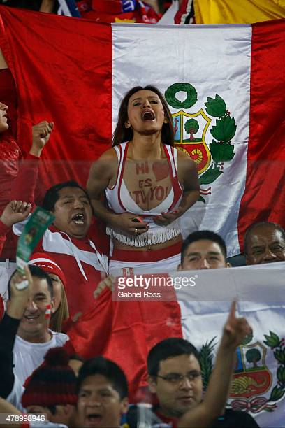 Nissu Cauti fan of Peru enjoys the atmosphere prior to the 2015 Copa America Chile Semi Final match between Chile and Peru at Nacional Stadium on...
