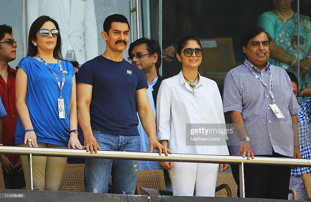 Nita Ambani (L), Actor <a gi-track='captionPersonalityLinkClicked' href=/galleries/search?phrase=Aamir+Khan+-+Actor&family=editorial&specificpeople=806800 ng-click='$event.stopPropagation()'>Aamir Khan</a>, Actress <a gi-track='captionPersonalityLinkClicked' href=/galleries/search?phrase=Preity+Zinta&family=editorial&specificpeople=630257 ng-click='$event.stopPropagation()'>Preity Zinta</a> and <a gi-track='captionPersonalityLinkClicked' href=/galleries/search?phrase=Mukesh+Ambani&family=editorial&specificpeople=552252 ng-click='$event.stopPropagation()'>Mukesh Ambani</a> watch from the stands during the 2011 ICC World Cup Final between India and Sri Lanka at the Wankhede Stadium on April 2, 2011 in Mumbai, India.