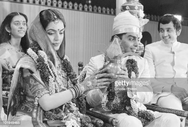 Nita Ambani and Indian billionaire industrialist Mukesh Ambani at their wedding ceremony Mumbai India circa 1985